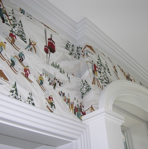 printed cotton fabric over a doorway