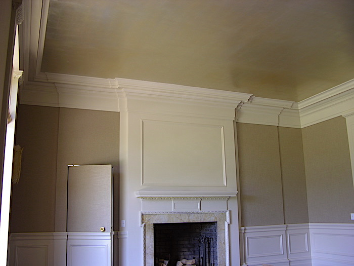 dining room wall upholstery gold color