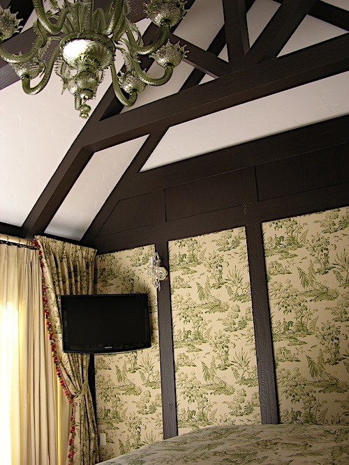 printed fabric in bedroom panels