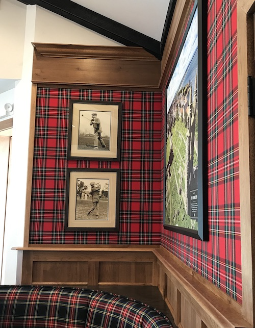red tartan stretched in a dining room